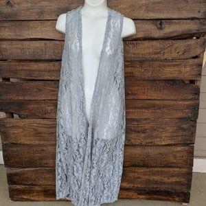 LuLaRoe Lace Light Gray Joy Vest